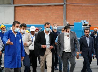 الرئيس الأسد يتفقد عددا من المنشآت الصناعية